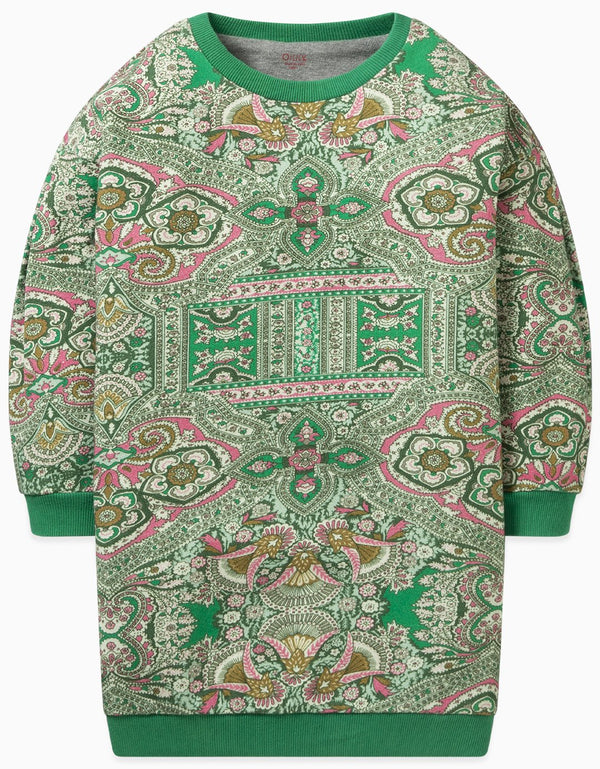 AW19 Oilily Girls Herrie Sweat Dress 72 Orient Green