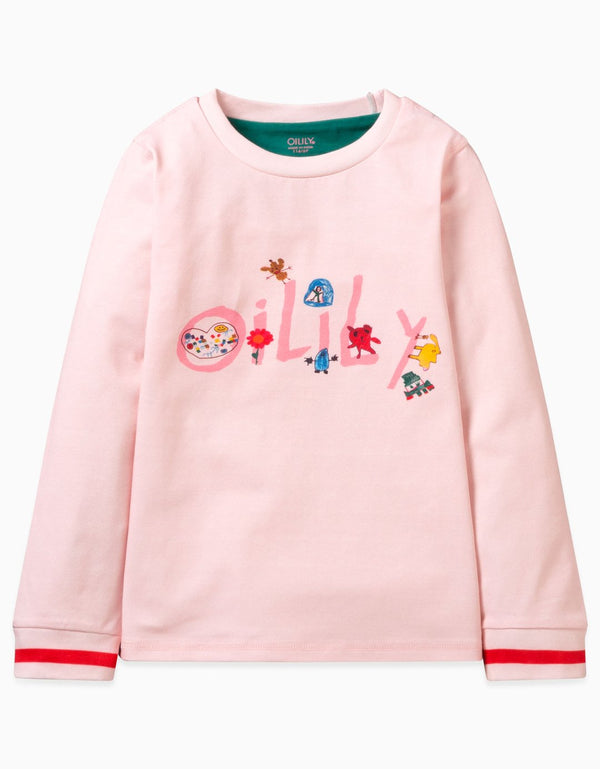 AW19 Oilily Girls Tappel T-Shirt Long Sleeves 30 Plain Pink With Artwork