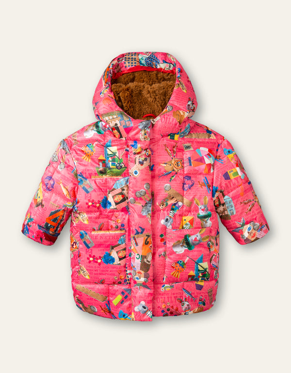 AW20 Oilily Girls Candid Coat Collage Craft Pink 30