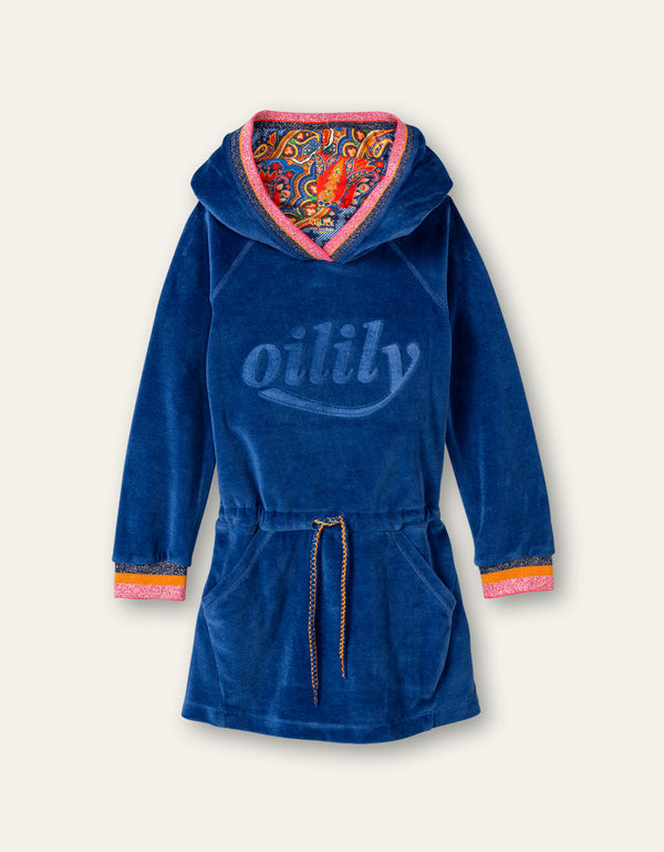 AW20 Oilily Girls Haxi Hooded Sweat Dress Blue Velvet 52
