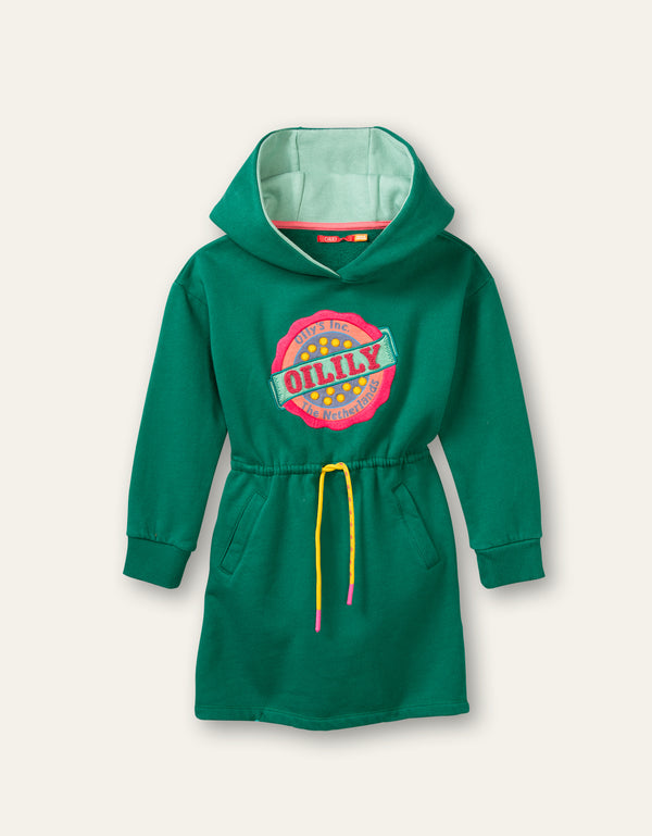 AW20 Oilily Girls Hink Hooded Green Sweat Dress 71