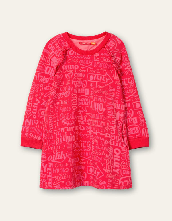 AW20 Oilily Girls Hisper Red Sweat Dress 20