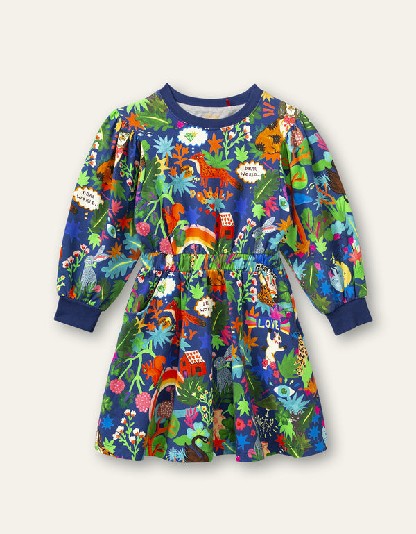 AW20 Oilily Girls Tair Treasure Hunt Blue Dress 52