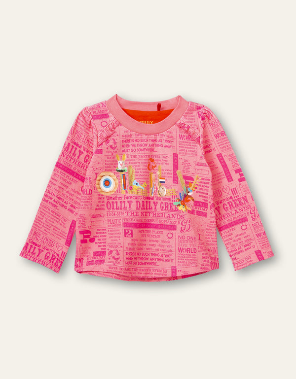 AW20 Oilily Girls Tevree Newspaper Craft Pink T-Shirt 30
