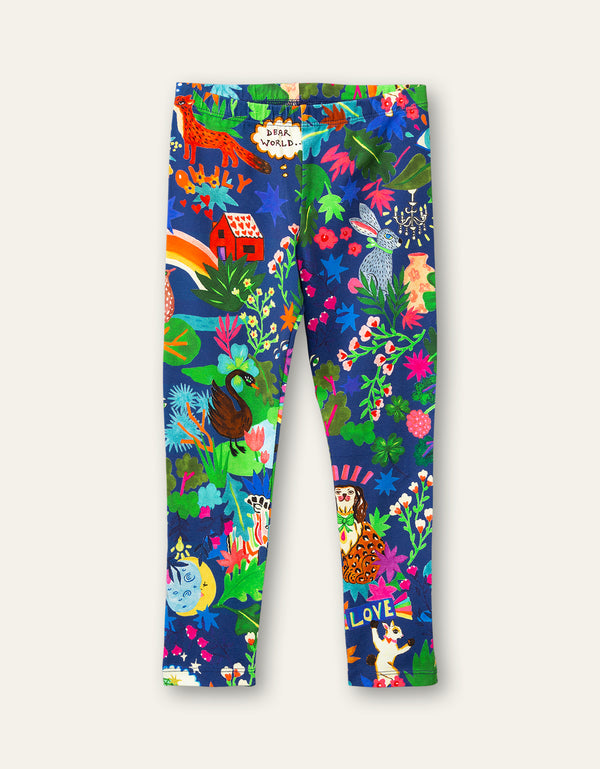 AW20 Oilily Girls Tiska Treasure Hunt Blue Leggings 52