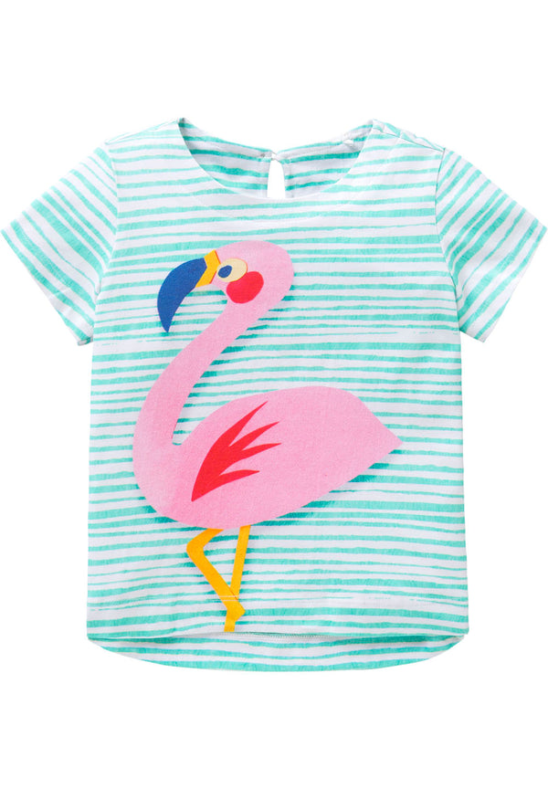 SS18 Oilily Taliz Short Sleeve T-Shirt 62 Aqua Stripe With Flamingo