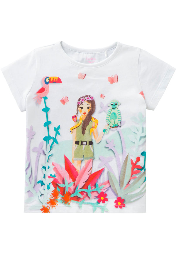SS18 Oilily Ti T-Shirt 01 White With Jungle Girl