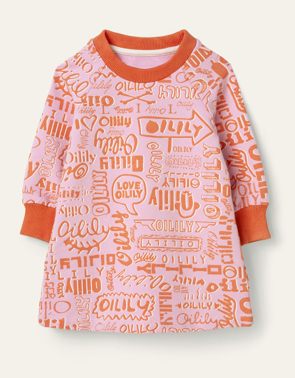 SS20 Oilily Girls Hippel Pink Logo Sweat Dress