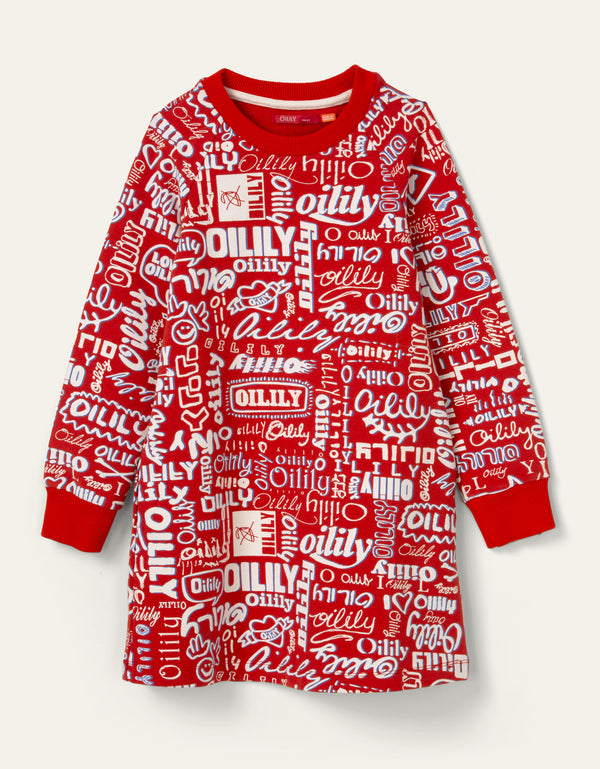 SS20 Oilily Girls Hippel Logo Red Sweat Dress 20