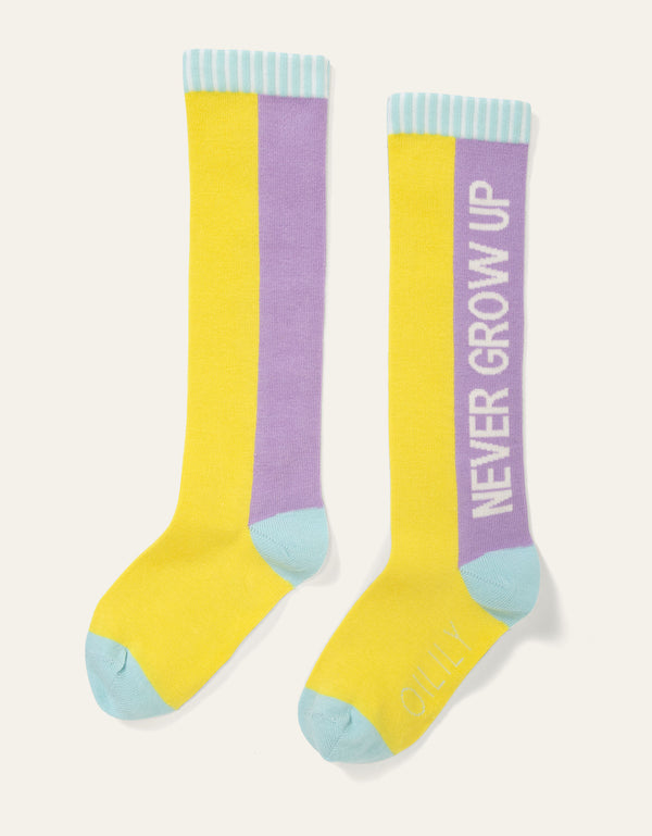 SS20 Oilily Mokum Knee High 'Never Grow Up' Yellow & Lilac Socks 40