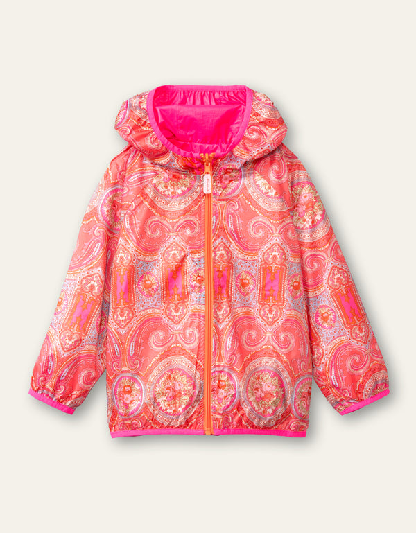 SS21 Oilily Girls Crispy Reversible Pink Paisley Rose Jacket 35
