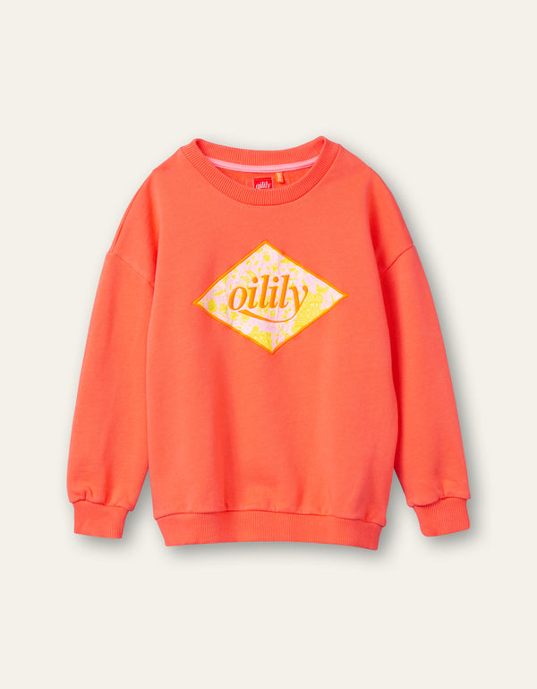 PRE-ORDER SS21 Oilily Girls Heritage Orange Coral Paisley Logo Sweater 15