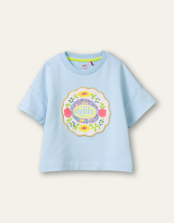 PRE-ORDER SS21 Oilily Girls Hussel Blue Short Sleeved Sweater 62
