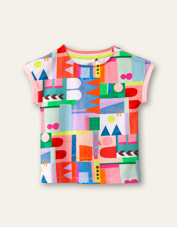 PRE-ORDER SS21 Oilily Girls Tascha Multi-Colour Collage T-Shirt 52