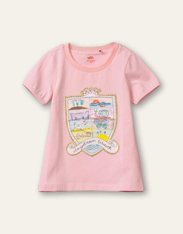 PRE-ORDER SS21 Oilily Girls Tof Pink Shield T-Shirt 36