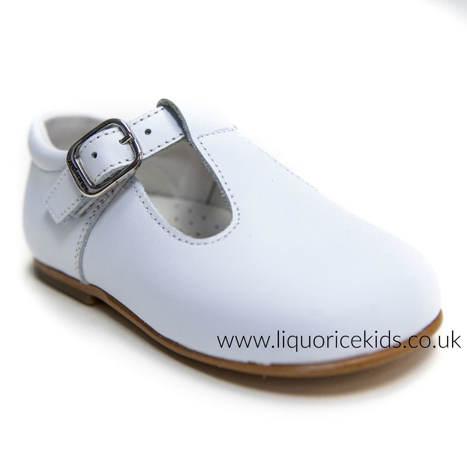 Andanines Boys White Leather T-Bar Shoes