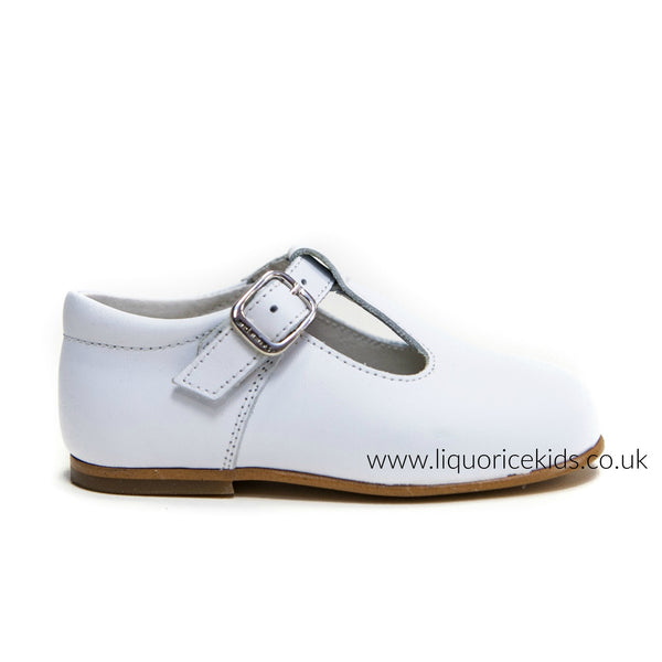 Andanines Boys White Leather T-Bar Shoes - Liquorice Kids