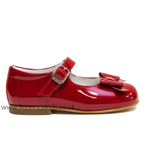 Andanines Girls Red Patent Mary Janes With Bow - Liquorice Kids
