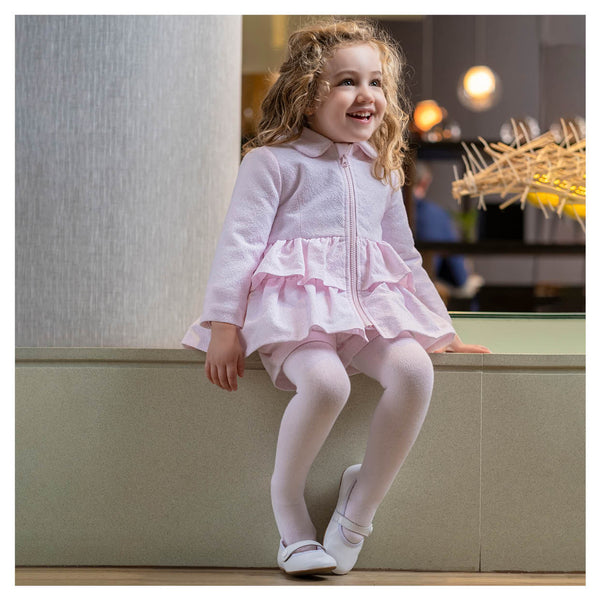 AW20 Tutto Piccolo Girls Pink Ruffle Coat 9514
