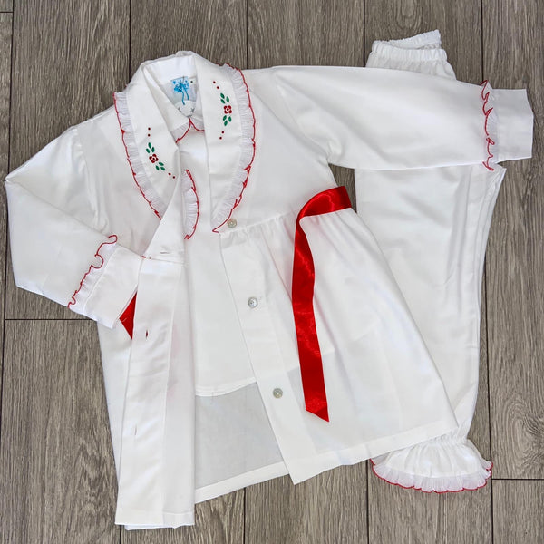 AW20 Salero Spanish White and Red Pajamas and Dressing Gown (name can be added)