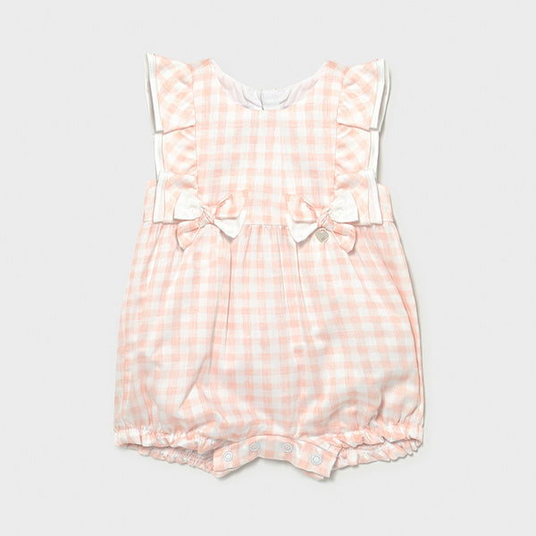 SS21 Mayoral Baby Girls Pink & White Check Romper 1601