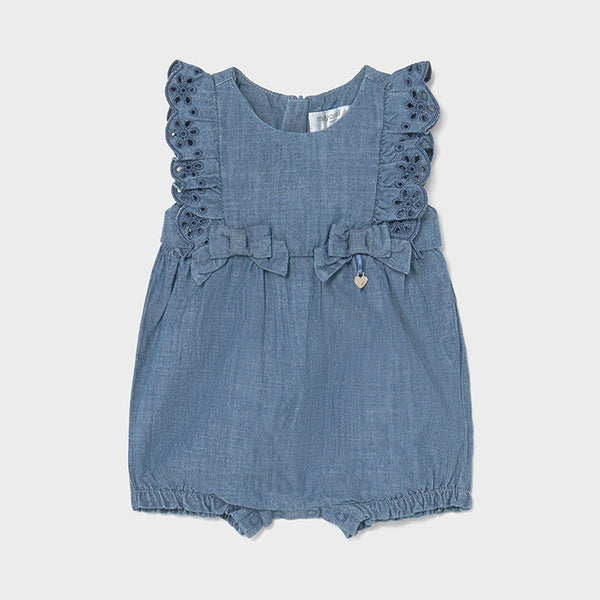 SS21 Mayoral Baby Girls Blue Denim Romper 1601
