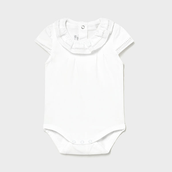 SS21 Mayoral Baby Girls White Frilled Collar Vest 1792