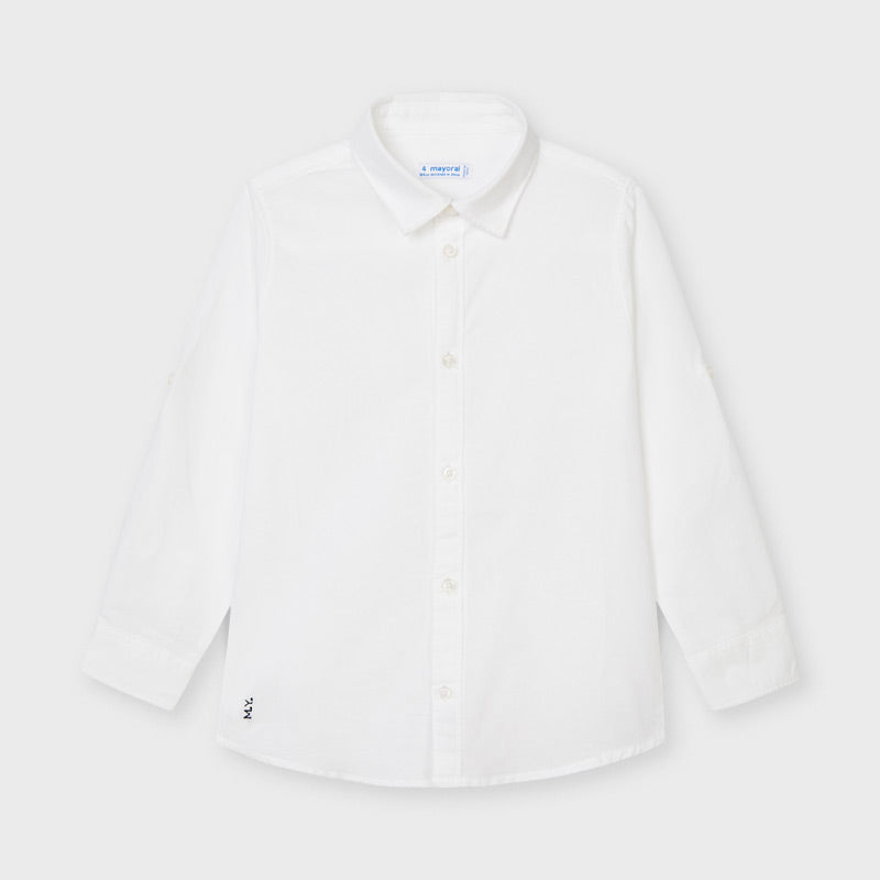 SS21 Mayoral Boys White Linen Shirt 141