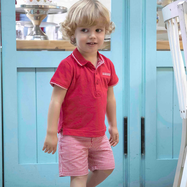 SS17 Tutto Piccolo Boys Red Polo Top and Shorts Set 2811/2110