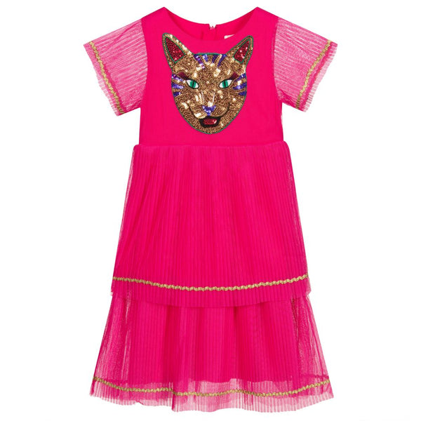 AW20 Billieblush Girls Pink Tiger Tulle Dress