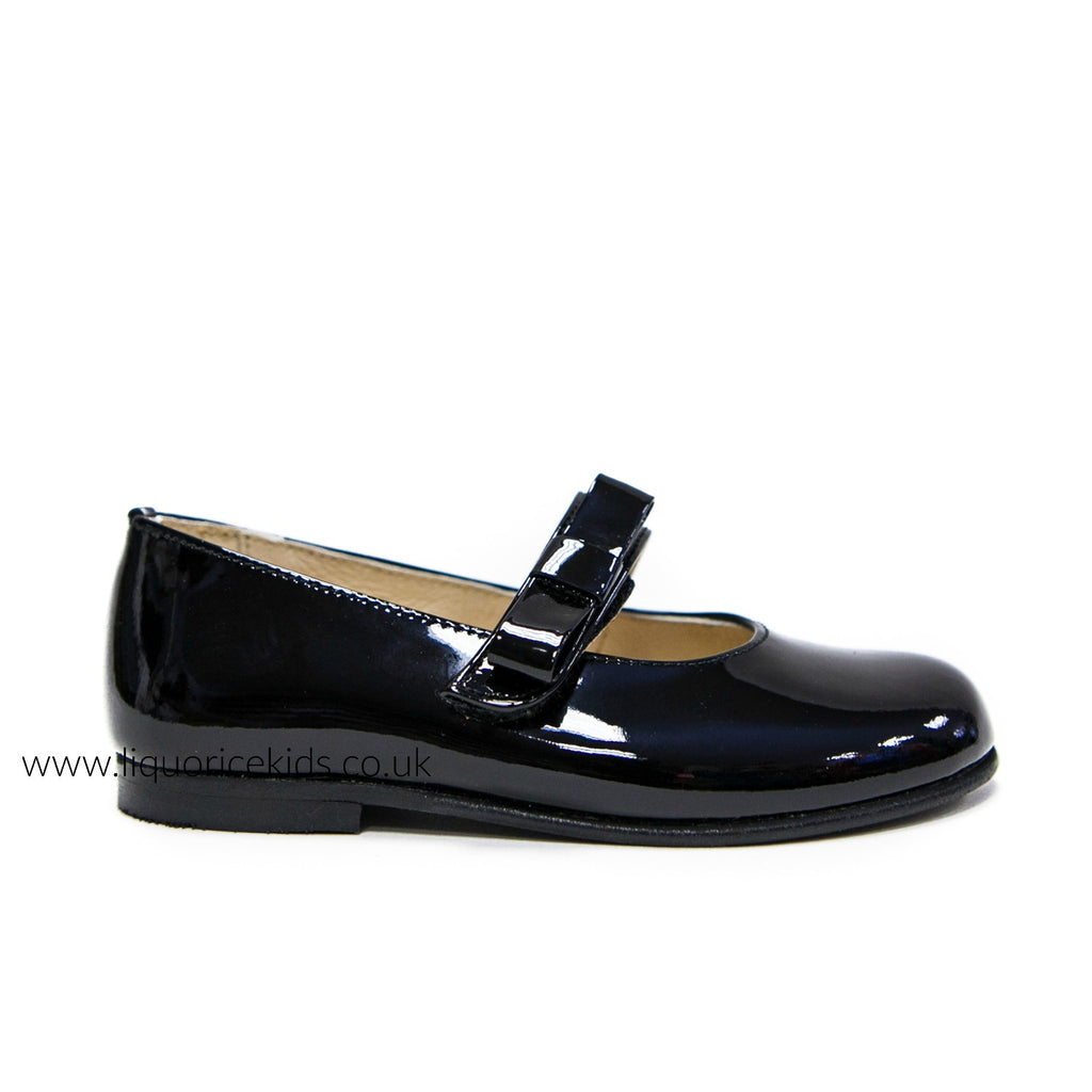 Andanines Black Patent Mary Janes with Black Bow - Liquorice Kids