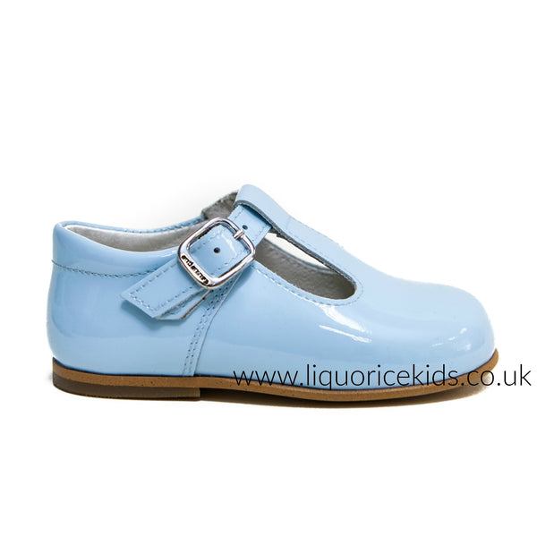 Andanines Boys Baby Blue Patent Leather T-Bars - Liquorice Kids