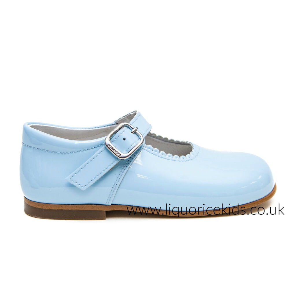Andanines Girls Pale Blue Patent Mary Janes With Scallop Edging. - Liquorice Kids