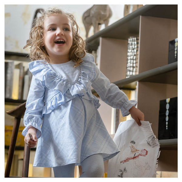 AW20 Tutto Piccolo Girls Blue & White Check Dress & Tights Set 9228