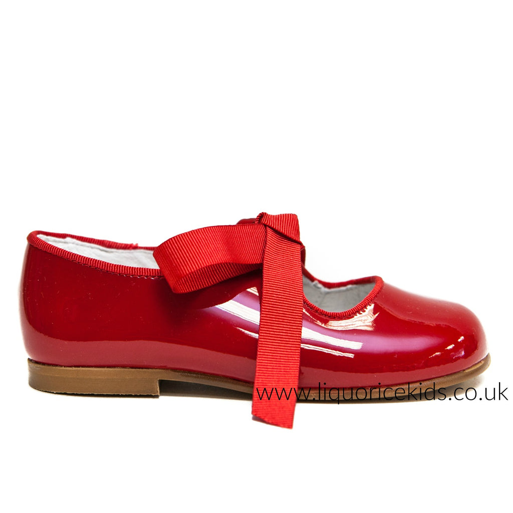 Andanines Red Patent Bow Shoes - Liquorice Kids