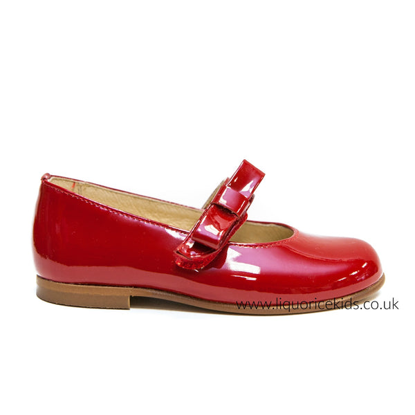 Andanines Red Patent Mary Janes with Red Bow - Liquorice Kids
