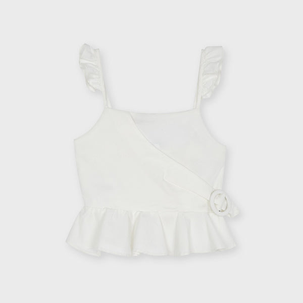 SS21 Mayoral Older Girls Cream Buckle Top 6179