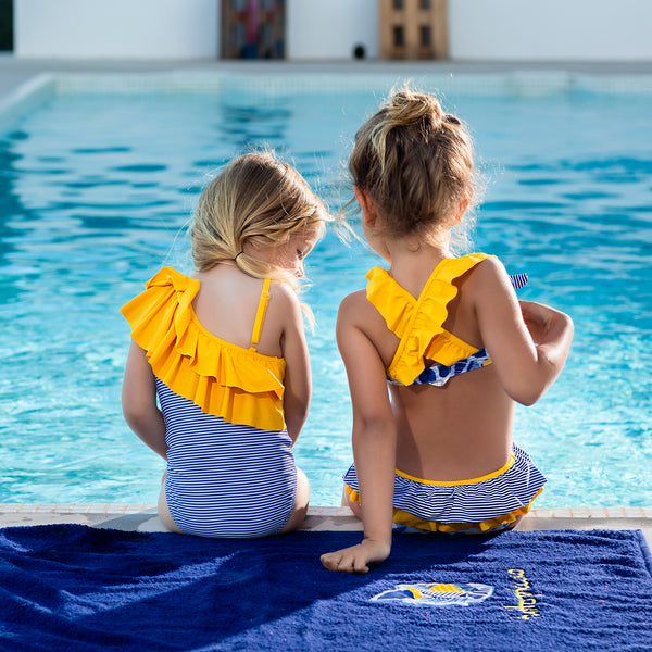 SS19 Tutto Piccolo Girls Blue & White Stripe Yellow Frill Swimsuit 6060
