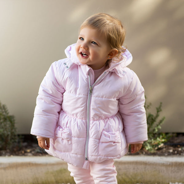 AW19 Tutto Piccolo Girls Pink Bow Coat 7525