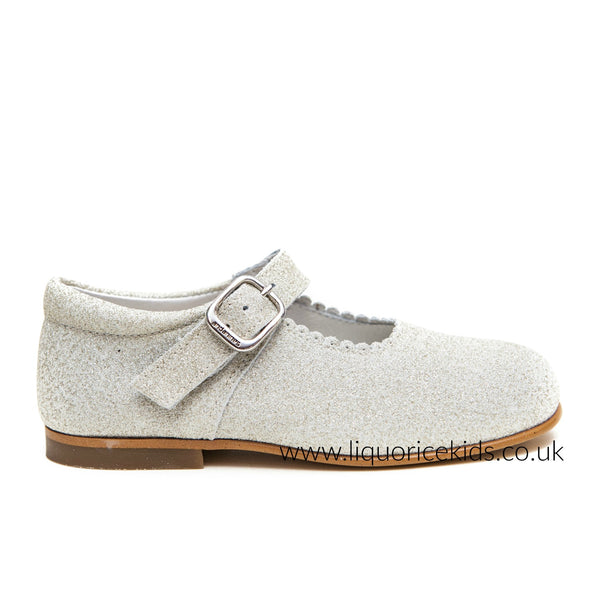 Andanines Girls Champagne Glitter Mary Janes With Scallop Edging. - Liquorice Kids