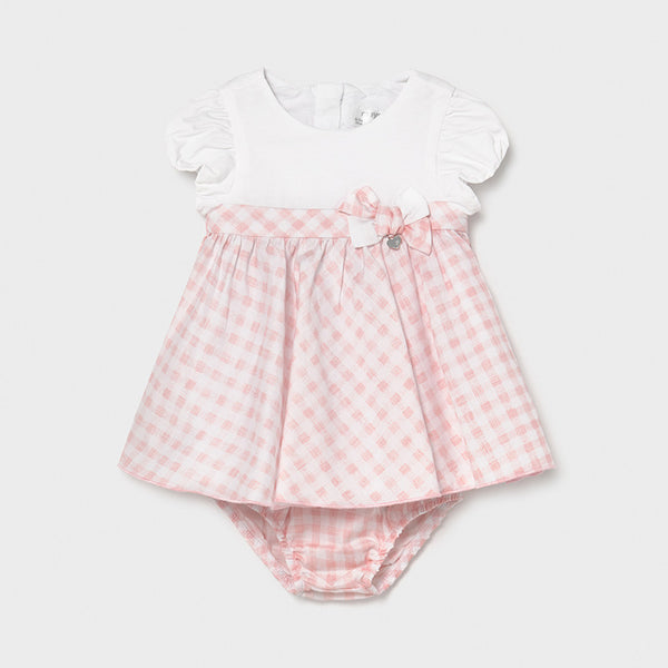 SS21 Mayoral Baby Girls Pink and White Checked Dress and Knickers 1803