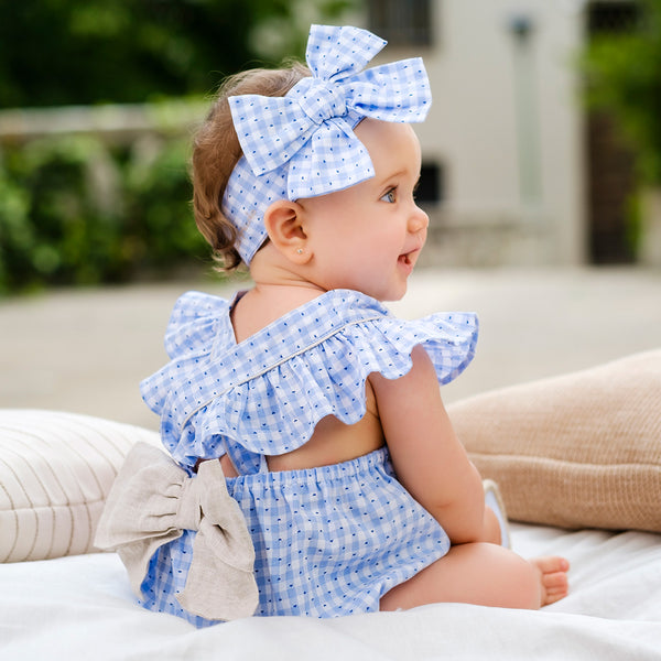 SS20 Tutto Piccolo Baby Girls Blue & White Check Romper 8711
