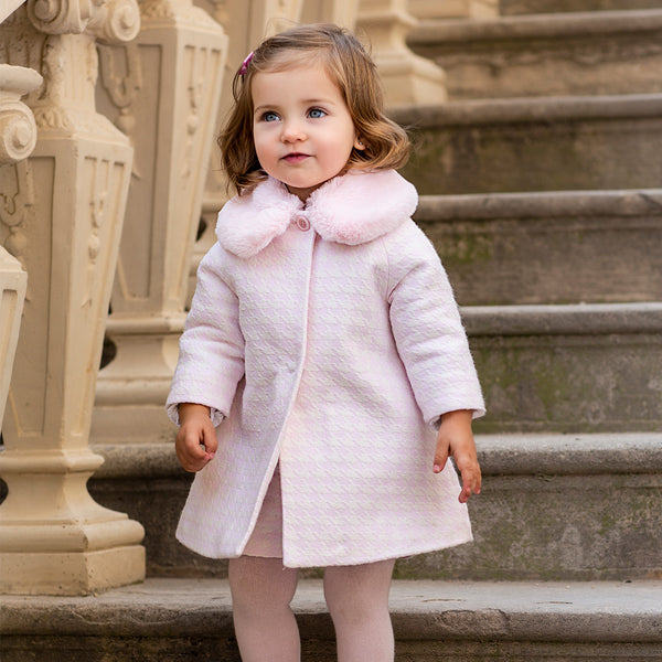 PRE-ORDER AW19 Tutto Piccolo Girls Pink Faux Fur Collar Coat 7612