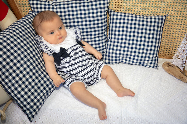 SS21 Patachou Baby Girls Navy Blue & White Stripe Romper