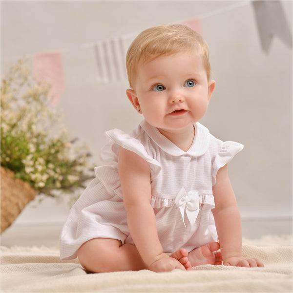 PRE-ORDER SS21 Tutto Piccolo Baby Girls Pink & White Stripe Dress & Knickers Set 1788