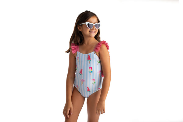 SS21 Meia Pata Girls Marbella Ice Cream Swimming Costume