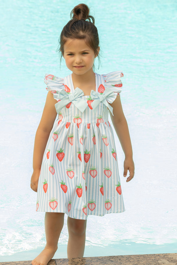 SS21 Patachou Girls Blue & White Stripe Strawberry Dress