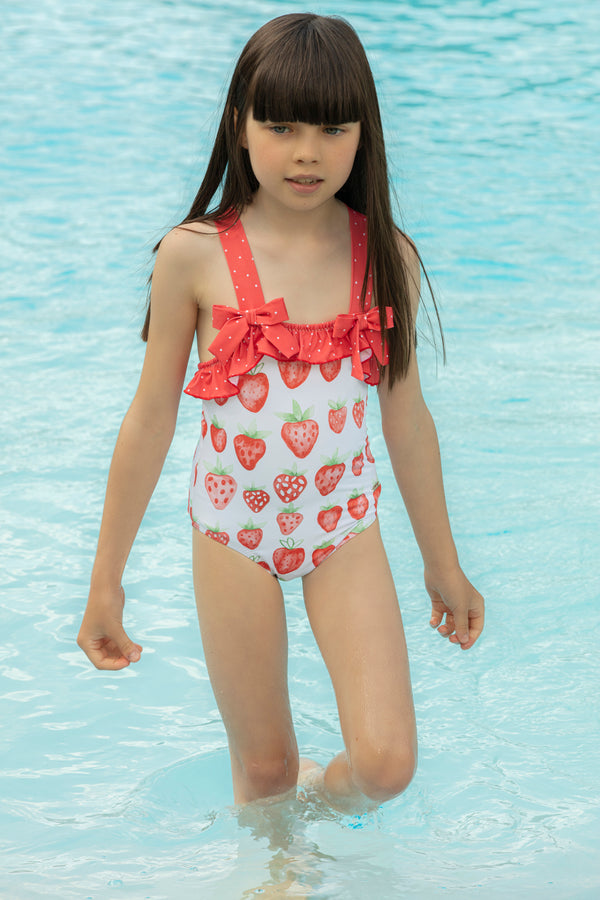 SS21 Patachou Girls Red & White Strawberries Swimming Costume