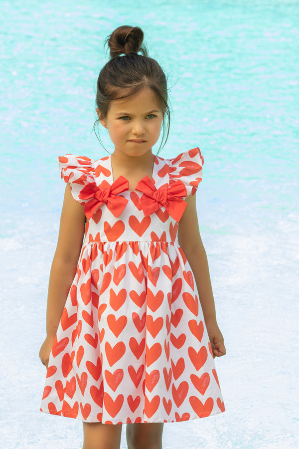 SS21 Patachou Girls Red & White Heart Dress