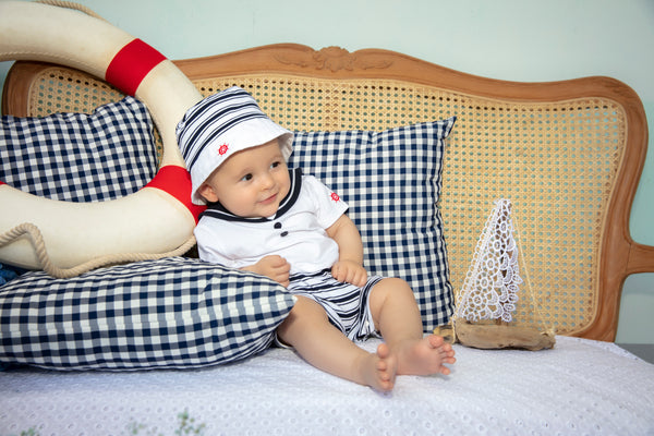SS21 Patachou Baby Boys Navy Blue & White Short Set
